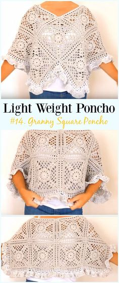 Crochet Ruffled Granny Square Poncho Free Pattern Video -Light Weight Spring Summer #Poncho; Free #Crochet; Patterns