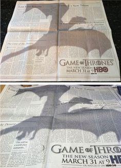 """""""Game Of Thrones"""" Ad of the New York Times #publicidad gráfica. Entre en el fantástico mundo de elcafeatomico.com para descubrir muchas más cosas!"""