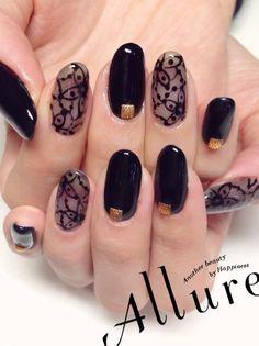 透けブラックレース ネイルの画像   奈良 橿原八木 ネイルサロン Allure Nailのネイルデザインカ…