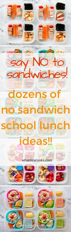Tired of packing just sandwiches for school lunch? Check this out! Dozens of easy non-sandwich school lunch ideas from WhatLisaCooks.com ... Good for adults work lunch boxes too.