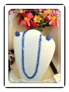 Glass Bead Necklace Set - Crystal Blue Aurora Borealis Glass Bead Necklace  w Matching Earrings Demi Set 3240a-041913020