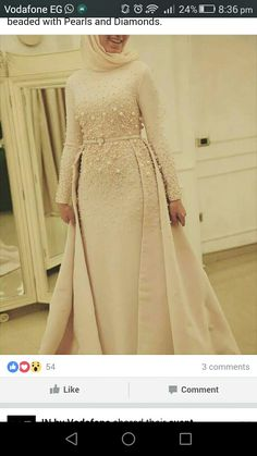 Typical Queen, in Light Rose gown with royal Tail… Hijab Prom Dress, Hijab Evening Dress, Evening Dresses, Muslim Wedding Dresses, Bridal Dresses, Prom Dresses, Abaya Fashion, Fashion Dresses, Fashion Clothes