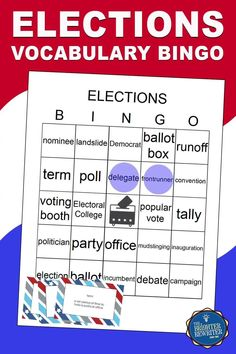 Introduce or review vocabulary words related to politics, voting, and elections in 3rd-6th with a fun game, assessment, and coloring page. Great for Election Day or a study of U.S. government! Bingo Games For Kids, Learning Games For Kids, Activities For Kids, Vocabulary Building, Vocabulary Activities, Vocabulary Words, Small Group Games, Small Groups, Teaching Social Studies