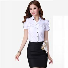 Perfect White Blouses for Women - Fashionoon White Short Sleeve Blouse, Black Blouse, Blouse And Skirt, Blouse Dress, White Shorts Womens, Short Skirts, Mini Skirts, Outfits Fo, The Office Shirts