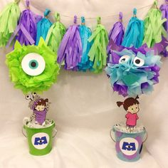 Monsters Inc Centerpiece. Birthday by TutuCuteKreations on Etsy
