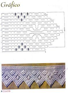 crochet - bicos - barrados - edgings - Raissa Tavares - Álbuns da web do Picasa Filet Crochet, Crochet Lace Edging, Crochet Borders, Crochet Diagram, Crochet Stitches Patterns, Doily Patterns, Crochet Chart, Crochet Trim, Crochet Baby