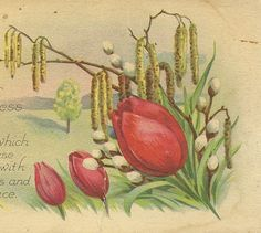 Red Tulips and Pussy Willows Vintage Easter by TheOldBarnDoor