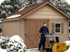 Detailed shed blueprints and plans with step by step instructions and diagrams. Build a shed quickly and cheaply. Wooden Storage Sheds, Diy Storage Shed Plans, Storage Building Plans, Outdoor Storage Sheds, Building A Shed, Build A Shed Kit, Wood Shed Kits, Shed Plans 12x16, Wood Shed Plans