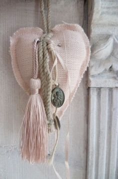 pale pink heart and tassel