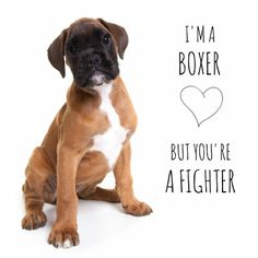 I'm a boxer, but you're a fighter. Een lief kaartje om iemand beterschap te wensen of een hart onder de riem te steken. Design: Owiwi Te vinden op: www.kaartje2go.nl