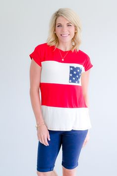 Stars/Stripes Top- Red