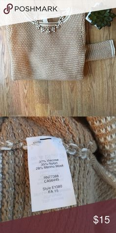 J. Crew knit sweater. J. Crew factory. Camel and white color knit sweater. Spit on sides at bottom. Slight longer length in back. White stripe detail around collar, wrists and bottom hem. Great condition worn a few times. More pics to come!  I also have the same sweater in grey listed! 🚫modeling J. Crew Sweaters Crew & Scoop Necks