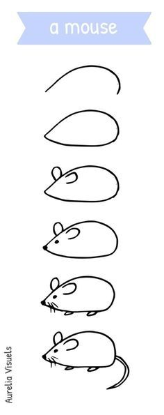 Dessiner une souris - draw a mouse - step by step                                                                                                                                                     Plus