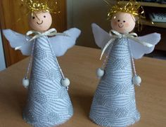 Need to try the arm design.a bead at the end of ribbon or string 😊 Christmas Angel Ornaments, Ribbon On Christmas Tree, Handmade Christmas Decorations, Christmas Diy, Angel Crafts, Diy And Crafts, Christmas Crafts, Crafts For Kids, Handmade Angels