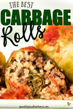 This cabbage rolls recipe is a comfort food favorite stuffed with flavorful seasoned meat and rice being topped with a homemade tomato sauce and baked. These rolls are a delicious dinner that's also easy to make ahead of time. Best Cabbage Rolls Recipe, Cabbage Recipes, Meat Recipes, Cooking Recipes, Healthy Recipes, Hamburger Recipes, Hamburger Ideas, Cooking Beef, Entrees