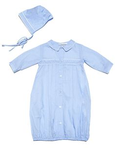 Friedknit Creations Newborn Baby Boys Light Blue Gown with Hat