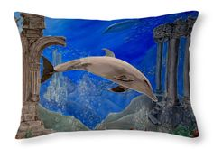 Throw Pillow, home,accessories,sofa,couch,children's,bedroom,decor,cool,beautiful,fancy,unique,trendy,artistic,awesome,fahionable,decorative,unusual,theme,gifts,presents,for,sale,design,ideas,items,products,blue,dolphin,sea,ocean