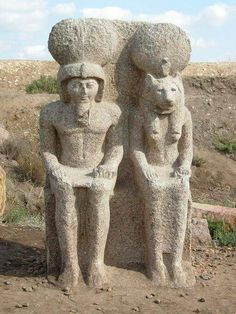 Double statue of Ramesses II and the goddess Sekhmet. Founded in Buto city (Pharaohs' Mound) near the city of Desouk, east of Alexandria in the Nile Delta of Egypt.