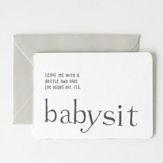letterpressed IOUs for new moms // babysit // perfect baby shower gift/card