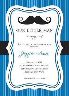 "You can't go wrong with the Little Man <a class=""crosslink"" href=""https://www.basicinvite.com/baby/baby-shower-invitations.html"" target=""_self"" alt=""Customizable Baby Shower Invites"" title=""Customizable Baby Shower Invites"">Baby Shower Invitations</a>! These classy invites feature a beautiful, curling mustache and your event details. Match them to your baby shower theme with our..."