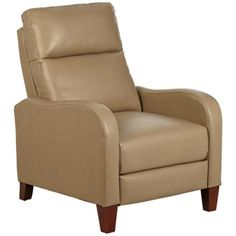 Zeus Recliner in Beige Bonded and Faux Leather