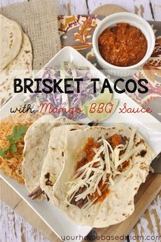 brisket tacos in the crock pot with a yummy mango BBQ sauce  @yourhomebasedmom  #brisket, #recipes, #crockpot