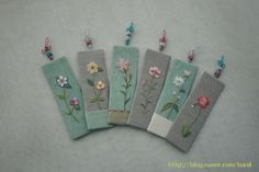 Flower embroidered bookmarks