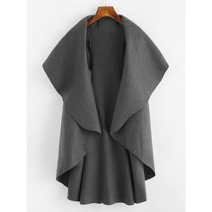 SheIn(sheinside) Waterfall Vest Coat ($16) ❤ liked on Polyvore featuring outerwear and grey