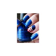 4th Of July Nails ❤ liked on Polyvore featuring beauty products and nail care