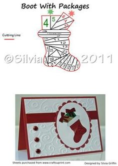 Christmas Stocking with Gifts  on Craftsuprint designed by Silvia Griffin - Christmas Boot with Gifts Iris Folding Pattern.I hope you like it and get lots of use from it. Please check out my other patterns. Thank you very much for looking :) - Now available for download!: