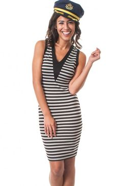 V-neck sleeveless stripe bodycon dress featuring solid v neckline. This dress will curve with every one of your curves.  $10.95
