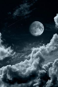 moon, night, and clouds resmi