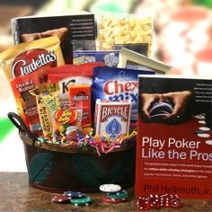 This could be their lucky day…go all in with this fantastic poker gift. Inside they'll find Phil Hellmuth's Play poker like the pros guide book, a deck of playing cards, dice, and an awesome variety of game night snacks. Valentine Gift Baskets, Valentines Sweets, Valentines Gifts For Him, Valentine Day Love, Valentine Crafts, Gift Baskets For Him, Gourmet Gift Baskets, Homemade Gifts, Diy Gifts