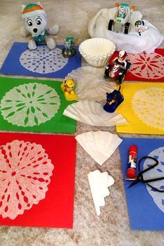 Rescue those coffee filters and create PAW Patrol Winter Rescue coffee filter snowflakes!