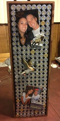 Would be good to put wood shop plans on so he can see them while working - Shotgun shell magnet board made with a shadow box and tons of hot glue. Ammo Crafts, Hunting Crafts, Fun Crafts, Redneck Crafts, Shotgun Shell Art, Shotgun Shell Crafts, Shotgun Shells, Bullet Casing Crafts, Bullet Crafts