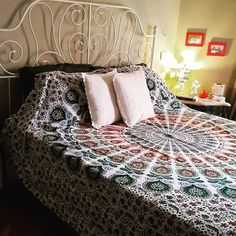 Bohemian Dreaming Mandala Queen Tapestry Mandala Throw, Mandala Tapestry, Tapestry Bedroom, Wall Tapestry, Bed Drapes, Tapestry Online, Cheap Room Decor, Bed Throws, Inspired Homes