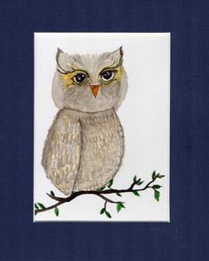 Owl Painting watercolor 8x10 Fine Art Original by VisionDeArte, $25.00