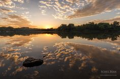 Sunset reflections at the River Ponds area of Tuttle Creek Lake, Kansas.