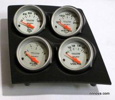 1968-1974 Nova Console Black Finish Quad Pod with AutoMeter Ultra Lite Electric Gauge.