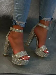 Chunky heel and sole Velcro adjustable ankle strap Rhinestone covered detail True to size Rhinestone Heels, Silver Heels, Silver Wedges, Glitter High Heels, Sparkly Heels, Stiletto Heels, Fancy Shoes, Pretty Shoes, Heels Outfits