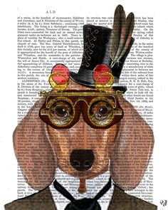 Dashing Dachshund Art Print mixed media painting dictionary page book poster illustration drawing humor steampunk goggles dog