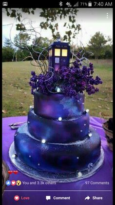 Beautiful TARDIS Galaxy cake