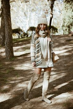 1 BEANIE 2 OUTFITS - Lovely Pepa by Alexandra. Ivory sweater+white skirt+beige over the knee boots+camel and khaki knit cardigan+beige scarf+ivory beanie+came shoulder bag. Fall Casual Outfit 2016