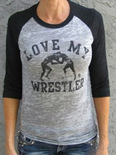 Love My WRESTLER - Sideline Chic. Available in tank or raglan. Great for wrestling moms and wrestling fans! Customize back with player name/number. Wrestling Mom Shirts, Wrestling Quotes, Wrestling Team, Aunt Shirts, Spirit Wear, Sports Mom, Sports Shirts, Sport Outfits, Style Me