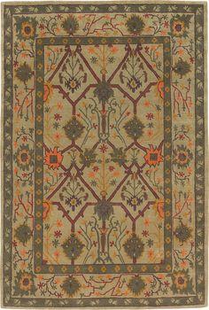 PALMETTE TRELLIS VERDE 5086 L 5149   Tiger Rug Craftsman collection.