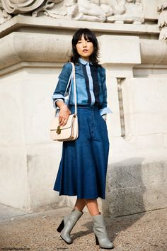 love that denim number. who is she? brilliant anyway. Paris.