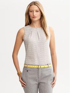 Love the shape/design but not the color. Herringbone pleat-front shell | Banana Republic