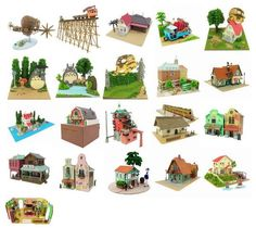 Diferentes modelos de maquetas de papel de películas del Studio Ghibli.