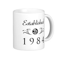 Established 1984 coffee mugs. A black and white floral pattern that makes a beautiful 30th birthday gift idea for women, or wedding anniversary gift for married couples.