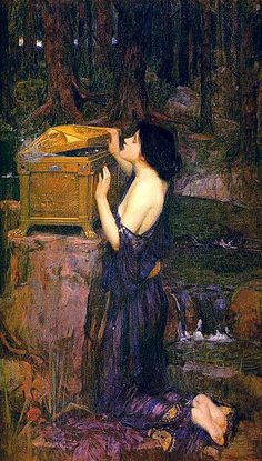 "Pandora, John William Waterhouse (1896) ; Pandora was allegedly the first mortal woman, made out of clay. Each god helped create her by giving her unique ""seductive gifts"". Pandora opened a jar, sometimes mistranslated as ""Pandora's box"" releasing all the evils, plagues and disease of mankind leaving only hope inside once she had closed it. She opened the jar out of simple curiosity and not as a malicious act."